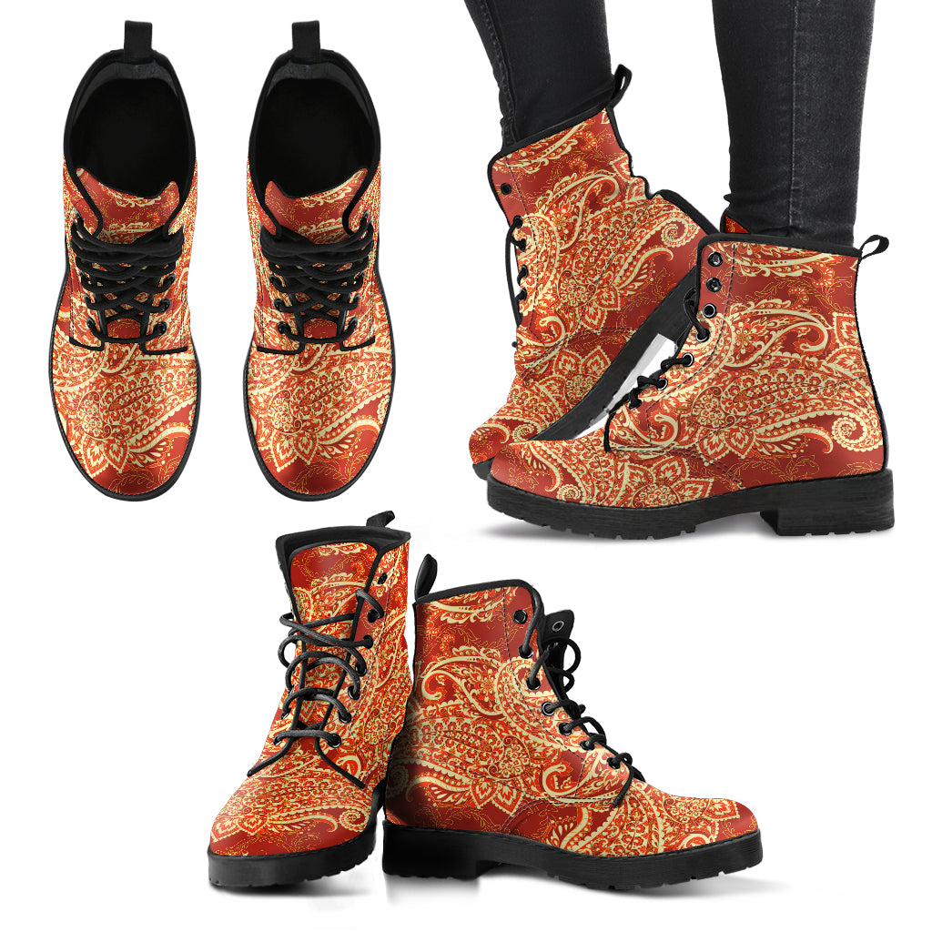 Red Paisley Mandala Handcrafted Boots