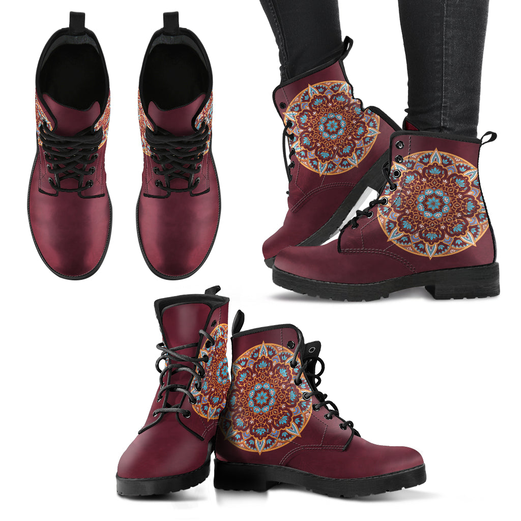 Mandala Lotus Flower Women's Leather Boots