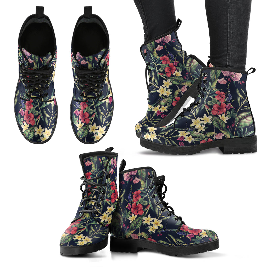 Tropical Flower Handcrafted Boots