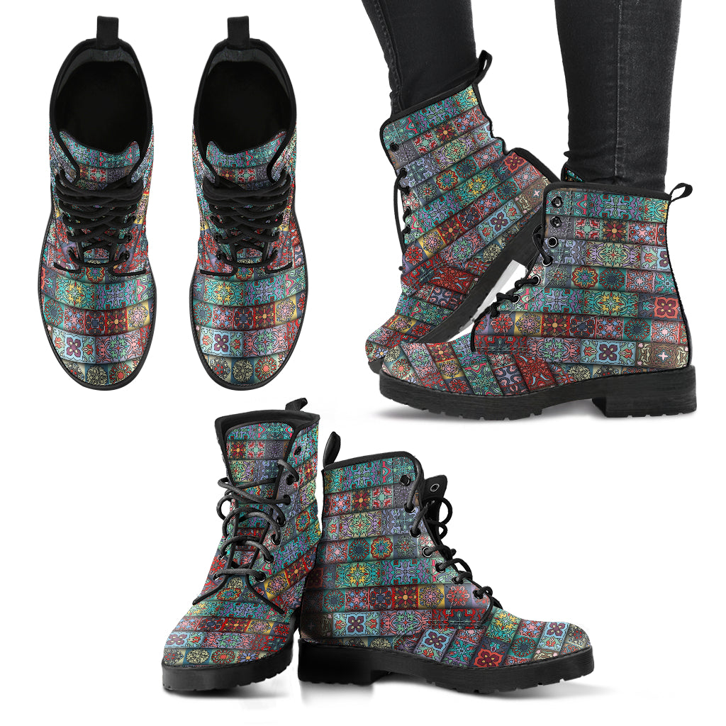 Bohemian Pattern Women's Leather Boots