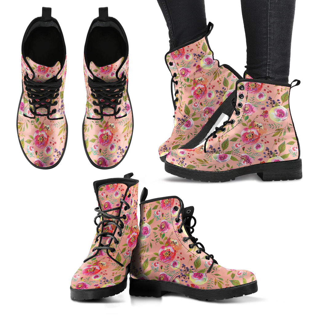 Floral Watercolour Roses Peonies (Apricot) - Leather Boots for Women