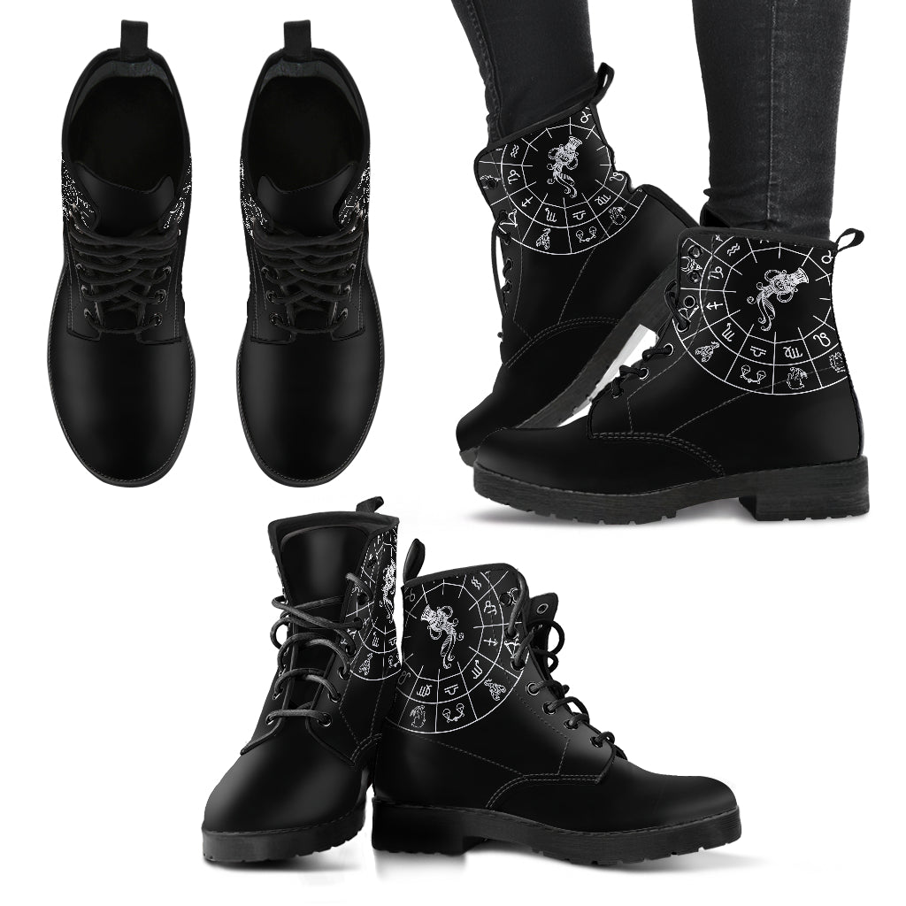 Aquarius Black Zodiac Women's Leather Boots