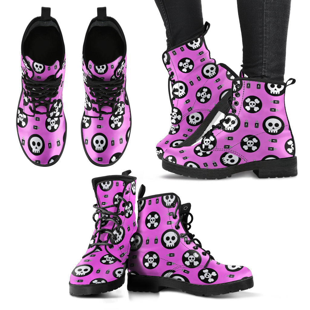 Skulls and Potion Faux Leather Boots