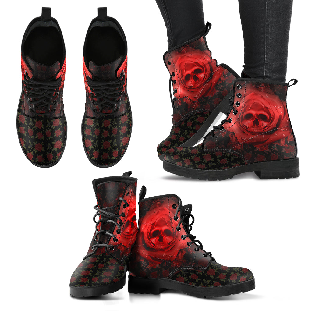 Rose Skull Women's Leather Boots