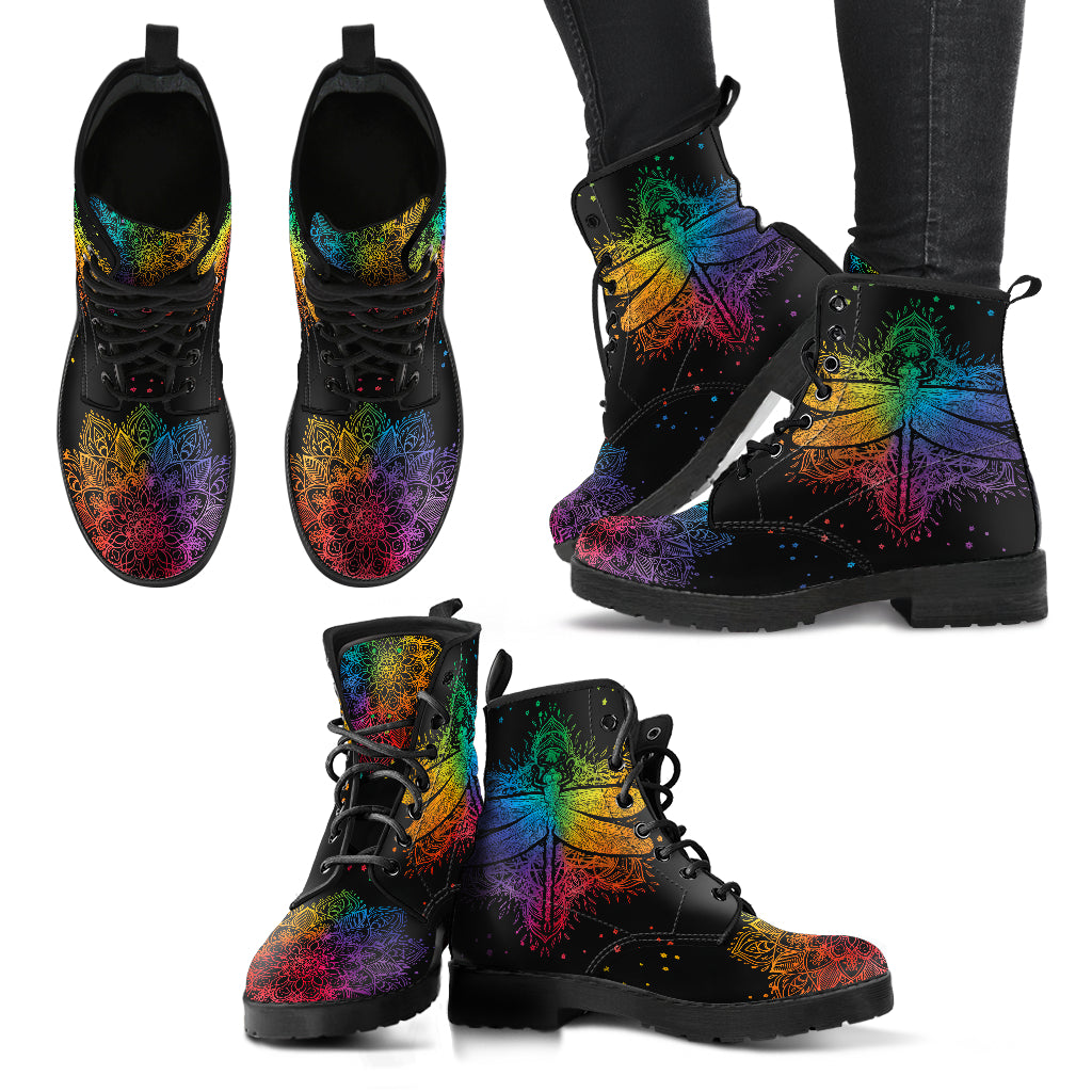 Colorful Mandala Dragonfly Handcrafted Boots