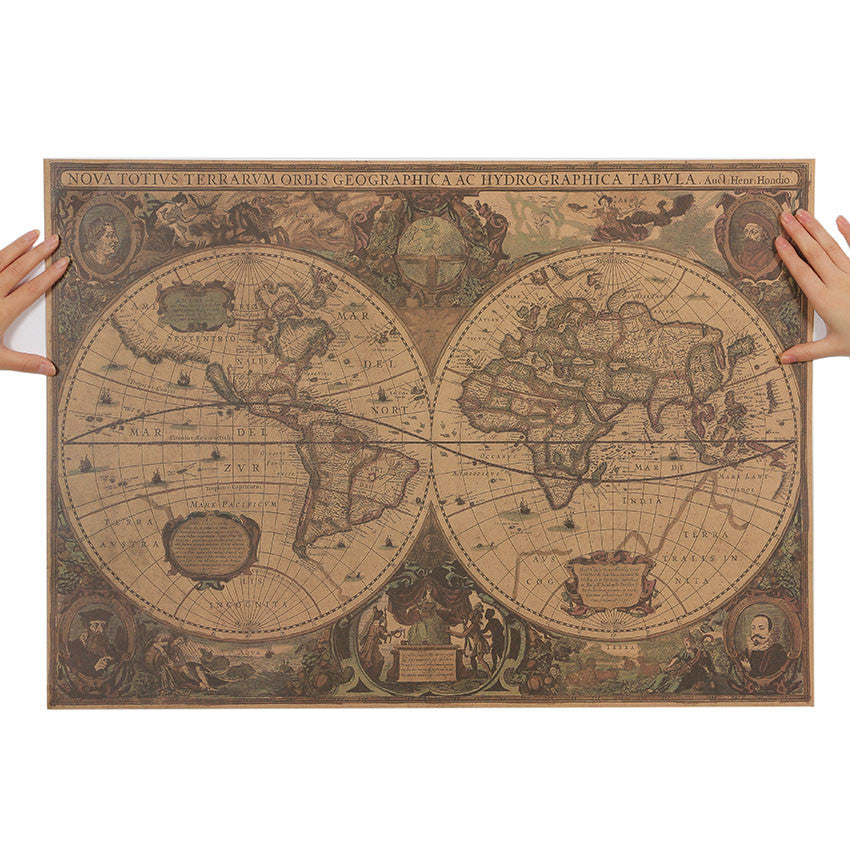 "Poster Kraft ""Carte Vintage World"" - Les Doux Raveurs"