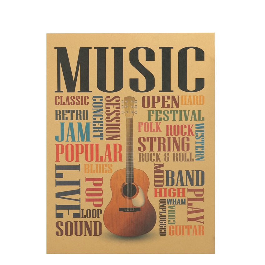 "Poster kraft ""On Music"" - Les Doux Raveurs"