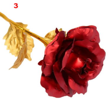 Gold Plated Golden Rose Flower Holiday Present Wedding Party Decoration