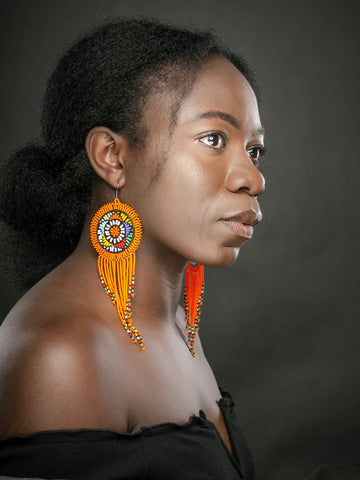 Thusa Earrings - Orange