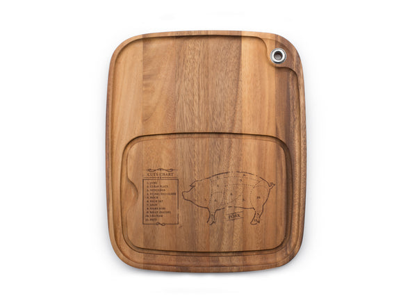 Acacia Wood - Steak Barbecue Plate: Pig - Ironwood Gourmet