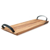 Acacia Wood - Large Florence Serving Board With Leather Handles - Ironwood Gourmet