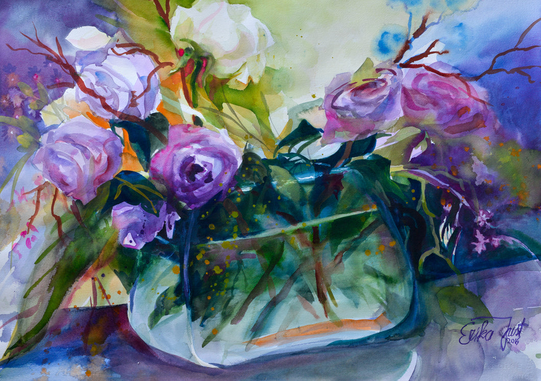 Original  -  Rosen in einer Glasvase (Roses In Glassbowl)
