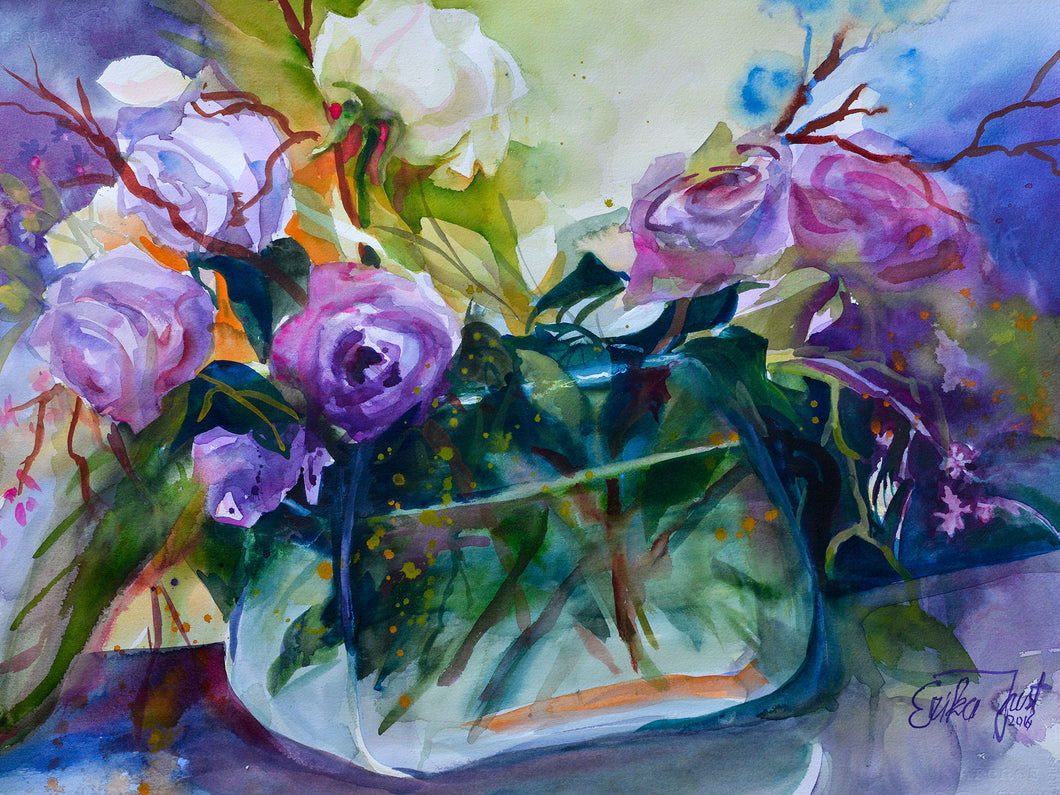 Canvas Print - Roses in a Fishbowl