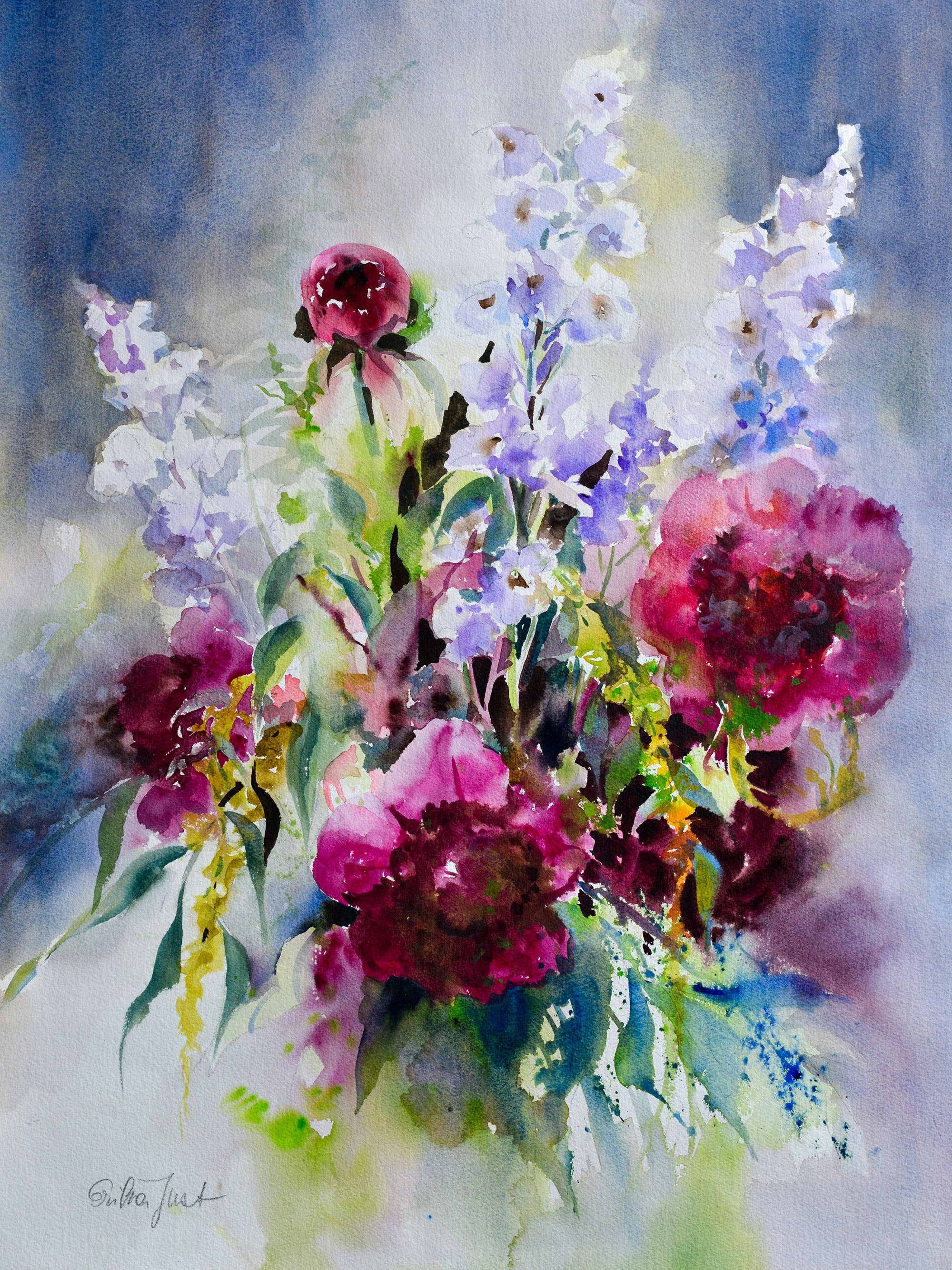 Original - Bouquet with Peonies and Delphinium