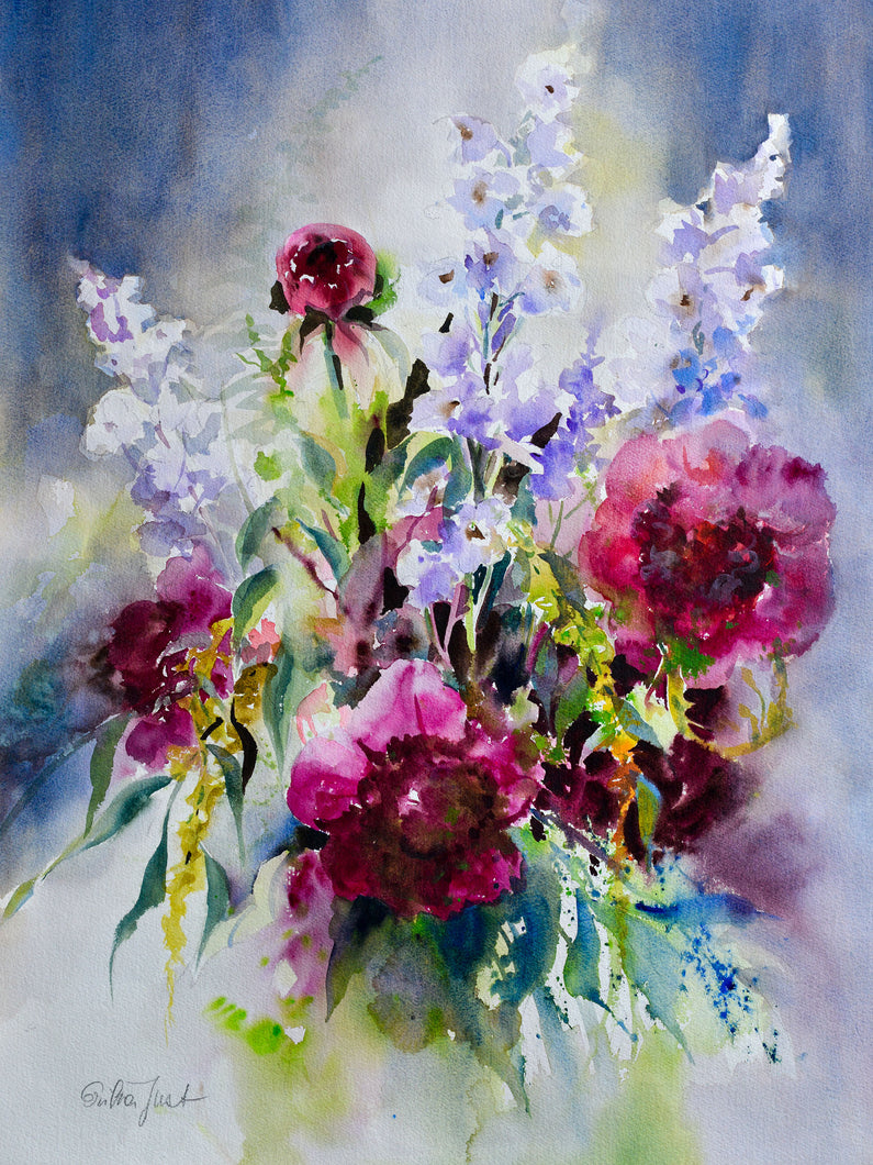 Poster - 'Bouquet with Peonies and Delphinium'