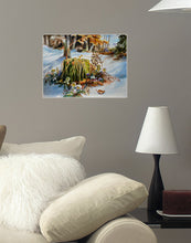 Poster- Der alte Baumstamm mit Schneerosen (The Old Tree Woodstock with Hellebores)