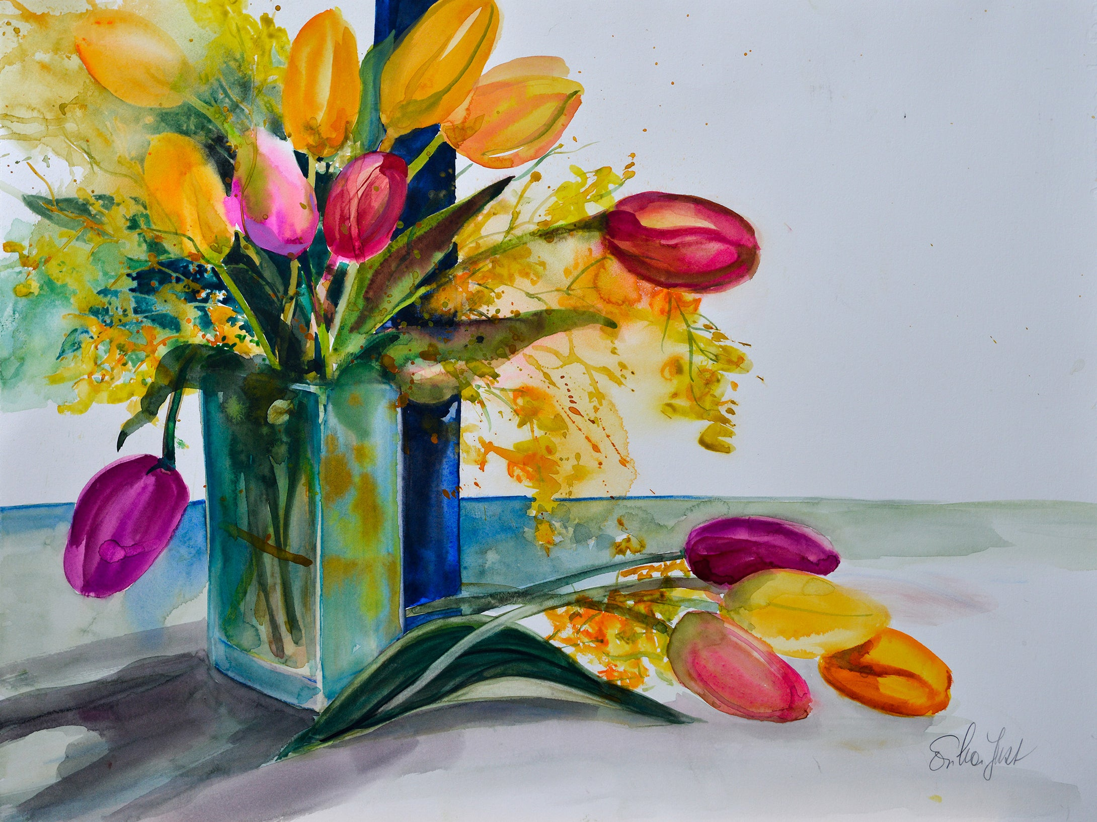 Original - Tulip in a Glass Vase (Easter Greetings)