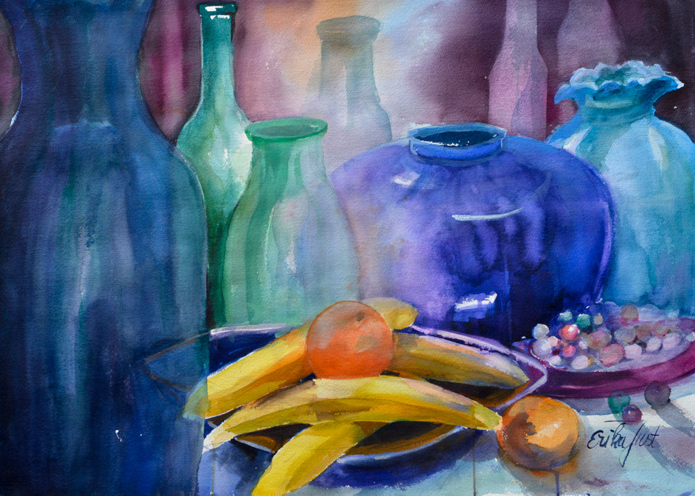 Original - Blaues Stilleben und Bananen (Blue Still Life with Bananas)