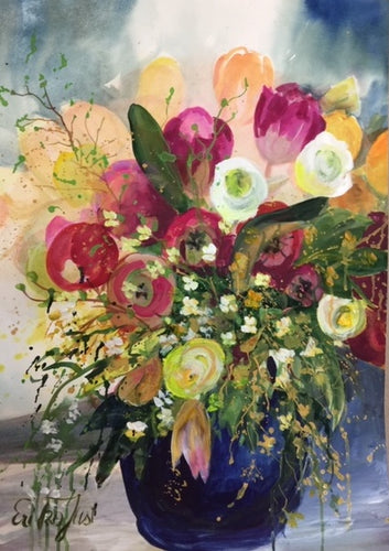 Original - Mixed Media Flower Bouquet