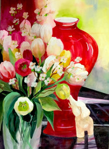 Original - Rote Vase mit Tulpen (Red Vase with Tulips. )