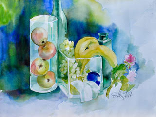 Poster -Äpfel in einer Glasvase (Apples In Glass Vase)