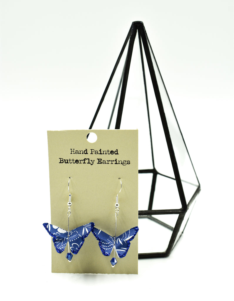 Hand Painted Origami Butterfly Earrings -  Dark Blue