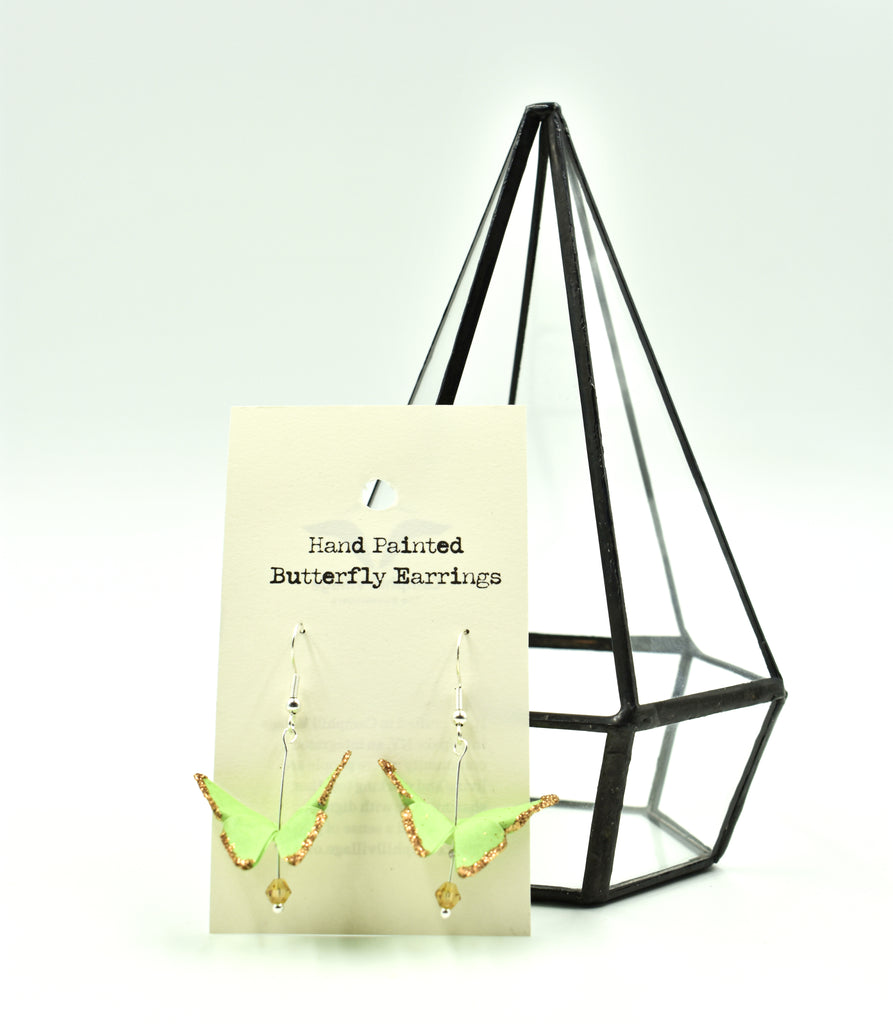 Hand Painted Origami Butterfly Earrings -  Spring Green