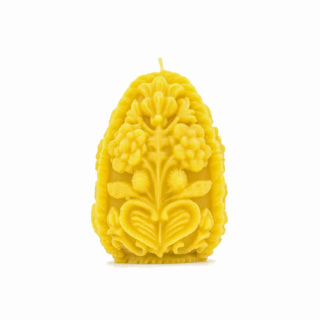 Carved Egg Candle - Pure Beeswax