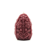 Purple Carved Egg Candle - Pure Beeswax