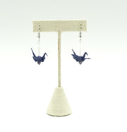 Origami Crane Earrings - Dark Blue