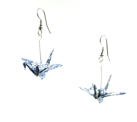 Origami Crane Earrings - Light Blue/White