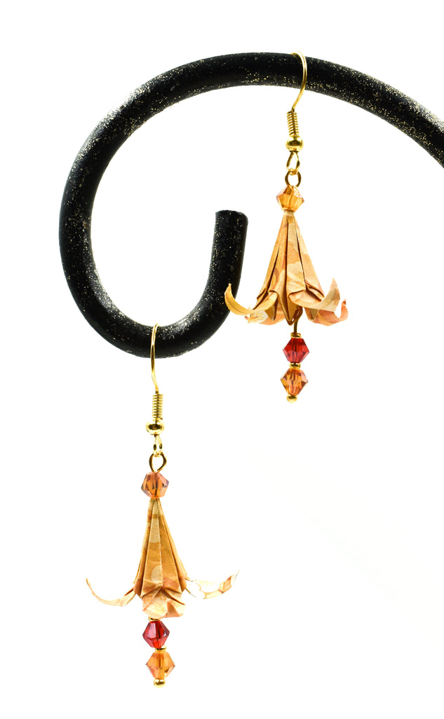 Origami Lilli Earrings -  Orange/Yellow