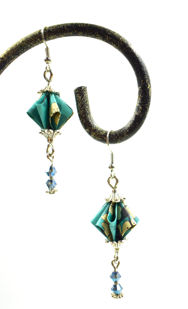 Elegant Origami Earrings - Turquoise/Blue