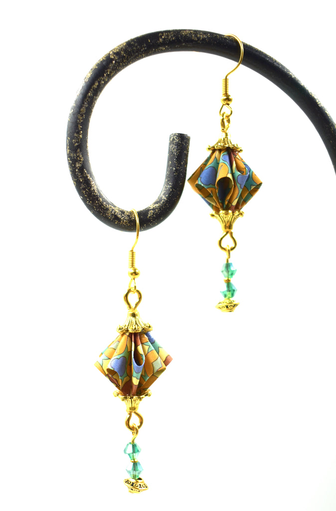 Elegant Origami Earrings - Blue/Orange