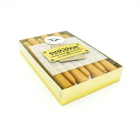 "Golden Treasure Box - 8"" Beeswax Tapers"