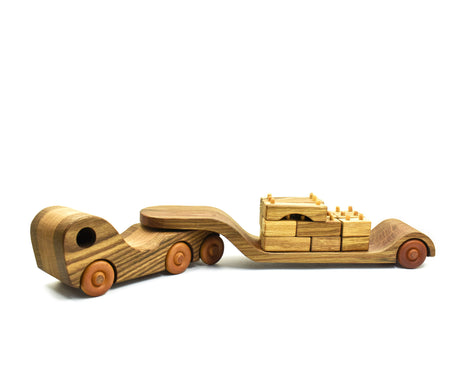 Wooden Low Loader Toy Truck with Trailer