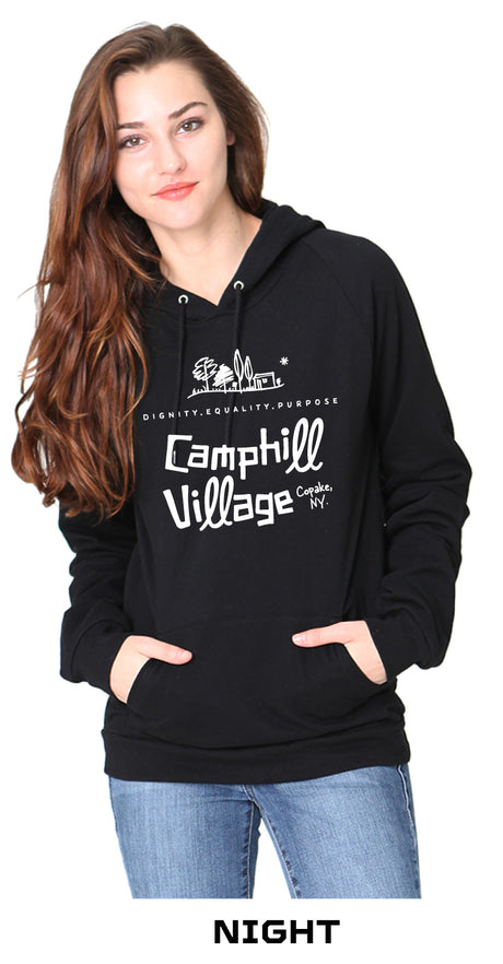Hoodie 100% Organic Cotton Design: Camphill Village, Color: Night (black)