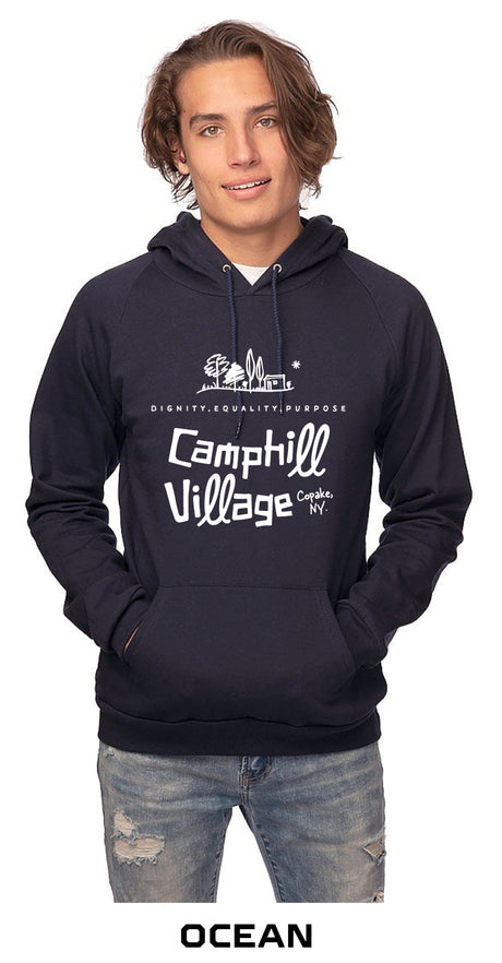 Hoodie 100% Organic Cotton Design: Camphill Village, Color: Ocean (blue)