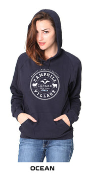 Hoodie 100% Organic Cotton Design: College, Color: Ocean (blue)