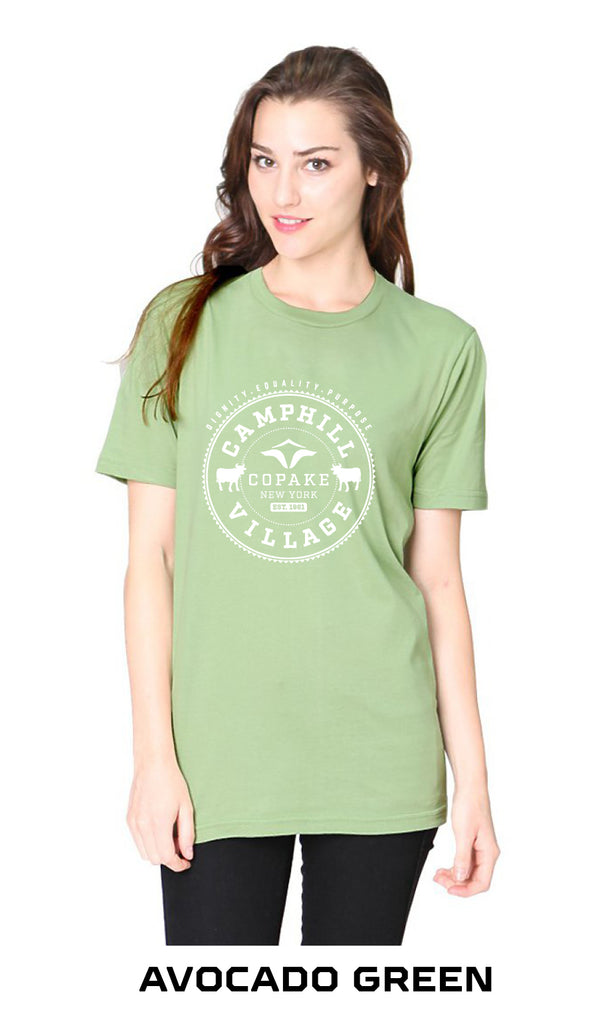 Short sleeve T-shirt 100% Organic Cotton, Design: College, Avocado Green
