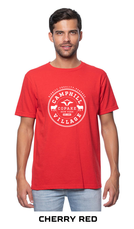 Short sleeve T-shirt 100% Organic Cotton, Design: College, Cherry Red