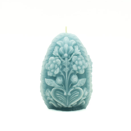 Blue Carved Egg Candle - Pure Beeswax