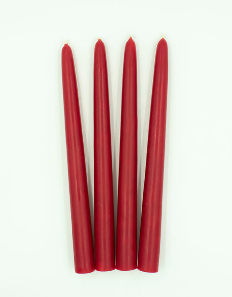 "Advent - 4 Red Natural Beeswax Tapers 8"" or 10"""
