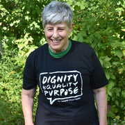 Short sleeve T-shirt 100% Organic Cotton, Design: Dignity, Equality, Purpose