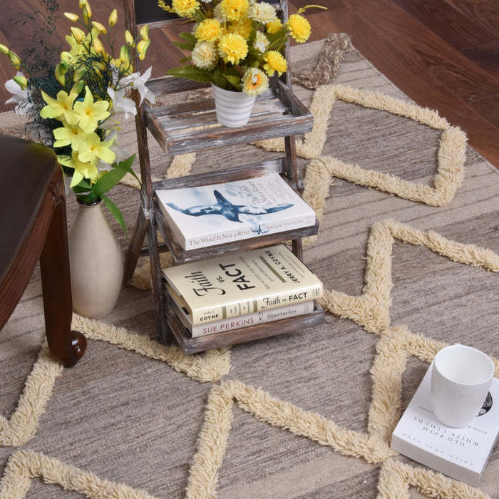 Valencia Brown Wool Shag Area Rug