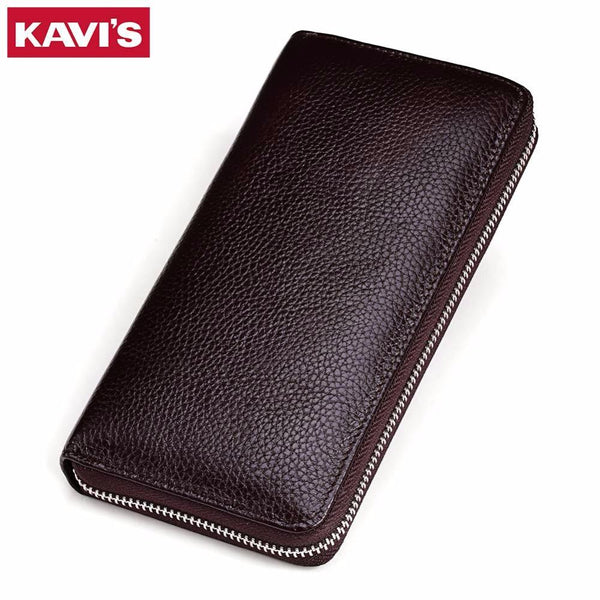 KAVIS Genuine Leather Long Wallet Men Female Male Cuzdan with Women lady Zipper Clutch Walet Handy Coin Purse Rfid PORTFOLIO