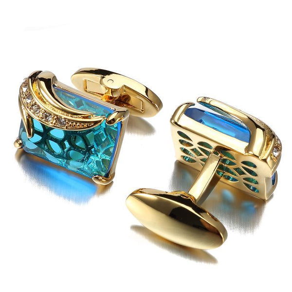 Luxury Blue Glass Cufflinks