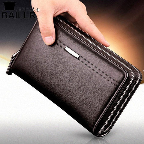 Double Zipper Men Clutch Bags High Quality PU Leather Wallet Man New Brand Wallets Male Long Wallets Purses carteira masculina