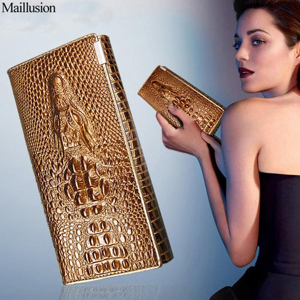 Maillusion Women Wallets Luxury Brand Wallets Designer Purse Genuine Leather Alligator Clutch Long Womens Wallets And Purse Lady