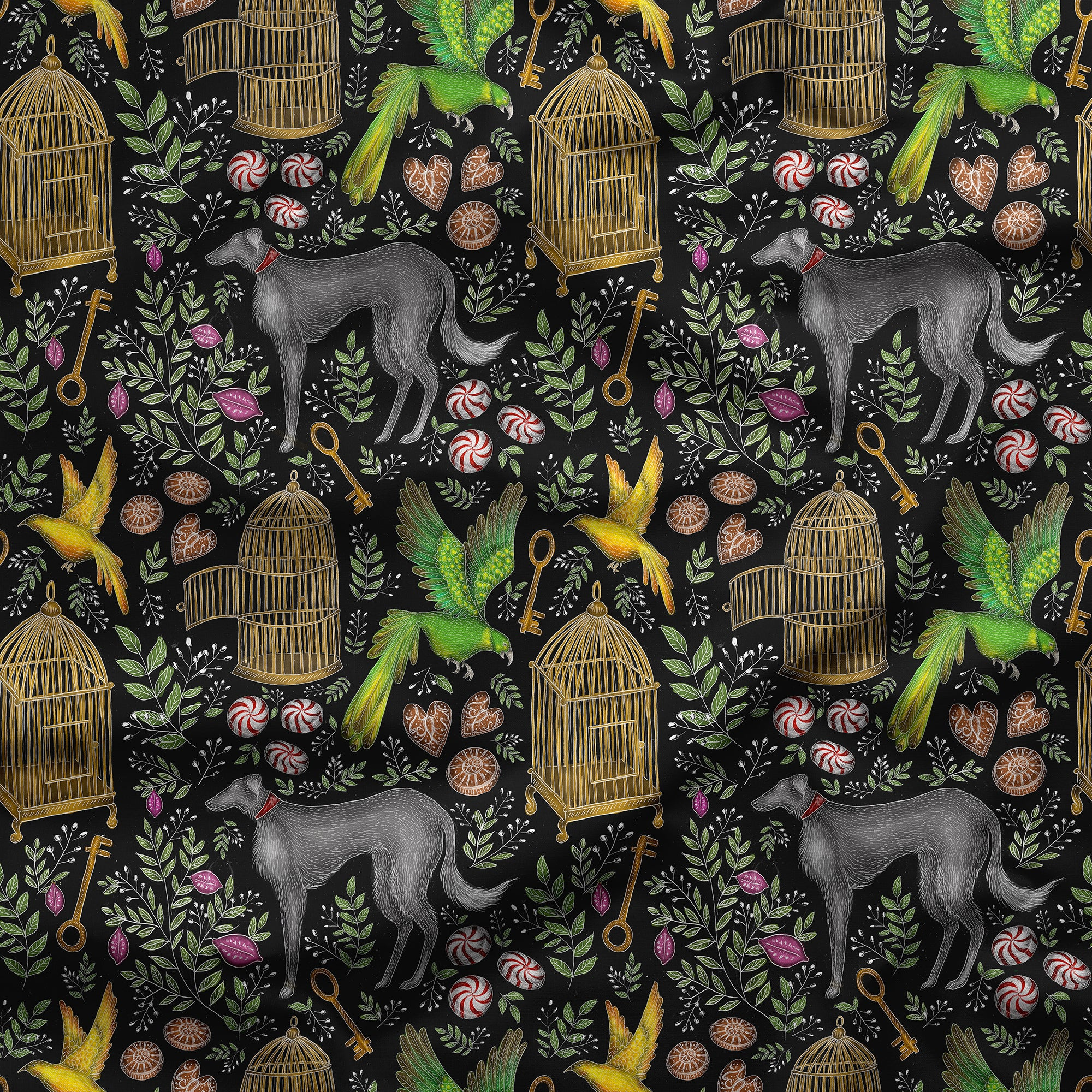Amsterdam Pattern in Midnight Black Fabric